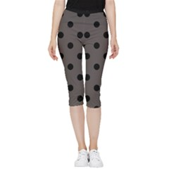 Large Black Polka Dots On Ash Grey - Inside Out Lightweight Velour Capri Leggings  by FashionLane