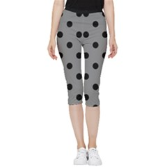 Large Black Polka Dots On Battleship Grey - Inside Out Lightweight Velour Capri Leggings  by FashionLane