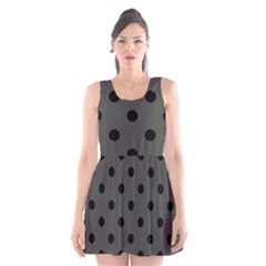 Large Black Polka Dots On Beluga Grey - Scoop Neck Skater Dress