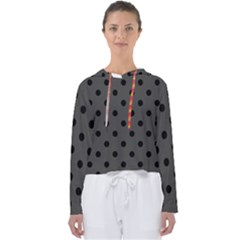 Large Black Polka Dots On Beluga Grey - Women s Slouchy Sweat