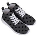 Large Black Polka Dots On Beluga Grey - Women s Lightweight High Top Sneakers View3