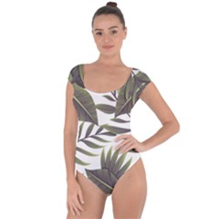 Tropical Leaves Short Sleeve Leotard  by goljakoff