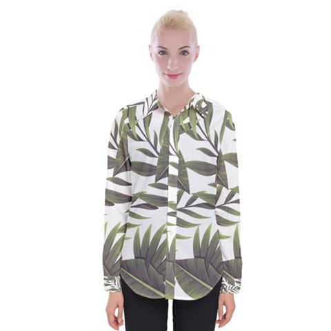 Tropical Leaves Womens Long Sleeve Shirt by goljakoff
