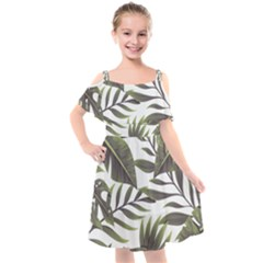 Tropical Leaves Kids  Cut Out Shoulders Chiffon Dress