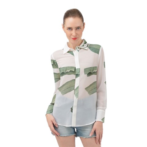 Palm Leaves Long Sleeve Chiffon Shirt by goljakoff