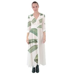 Palm Leaves Button Up Maxi Dress by goljakoff