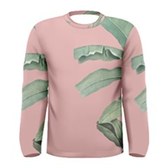 Palm Leaf On Pink Men s Long Sleeve Tee by goljakoff