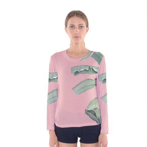 Palm Leaf On Pink Women s Long Sleeve Tee by goljakoff