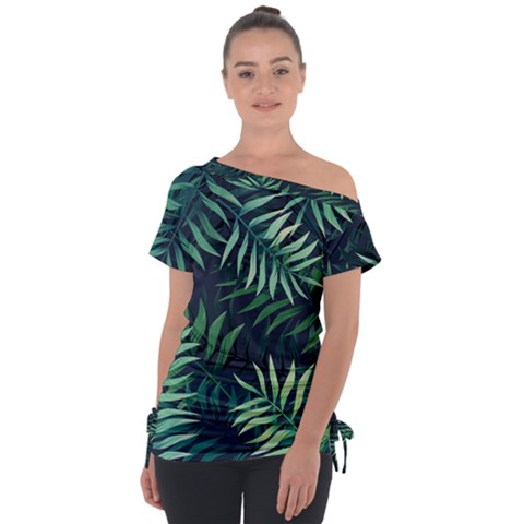Green Leaves Off Shoulder Tie-up Tee by goljakoff