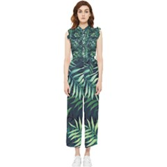 Green Leaves Women s Frill Top Jumpsuit by goljakoff