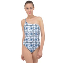 Azulejo Style Blue Tiles Classic One Shoulder Swimsuit