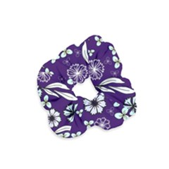 Floral Blue Pattern Velvet Scrunchie by MintanArt