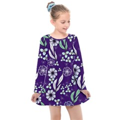Floral Blue Pattern Kids  Long Sleeve Dress by MintanArt