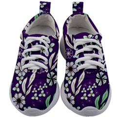 Floral Blue Pattern  Kids Athletic Shoes