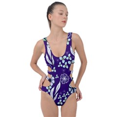 Floral Blue Pattern  Side Cut Out Swimsuit by MintanArt