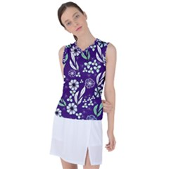 Floral Blue Pattern  Women s Sleeveless Sports Top