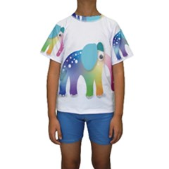 Illustrations Elephant Colorful Pachyderm Kids  Short Sleeve Swimwear