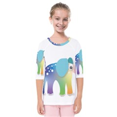 Illustrations Elephant Colorful Pachyderm Kids  Quarter Sleeve Raglan Tee