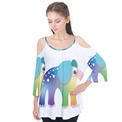 Illustrations Elephant Colorful Pachyderm Flutter Tees