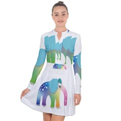 Illustrations Elephant Colorful Pachyderm Long Sleeve Panel Dress