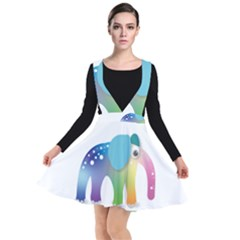 Illustrations Elephant Colorful Pachyderm Plunge Pinafore Dress