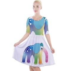 Illustrations Elephant Colorful Pachyderm Quarter Sleeve A-line Dress