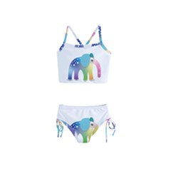 Illustrations Elephant Colorful Pachyderm Girls  Tankini Swimsuit