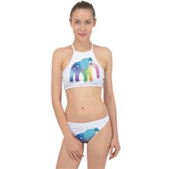Illustrations Elephant Colorful Pachyderm Racer Front Bikini Set