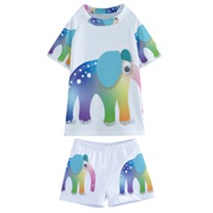 Illustrations Elephant Colorful Pachyderm Kids  Swim Tee And Shorts Set