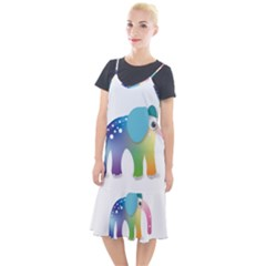Illustrations Elephant Colorful Pachyderm Camis Fishtail Dress