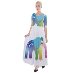 Illustrations Elephant Colorful Pachyderm Half Sleeves Maxi Dress