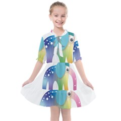 Illustrations Elephant Colorful Pachyderm Kids  All Frills Chiffon Dress