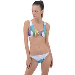 Illustrations Elephant Colorful Pachyderm Ring Detail Crop Bikini Set