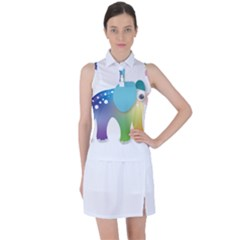 Illustrations Elephant Colorful Pachyderm Women s Sleeveless Polo Tee