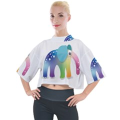 Illustrations Elephant Colorful Pachyderm Mock Neck Tee