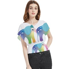 Illustrations Elephant Colorful Pachyderm Butterfly Chiffon Blouse