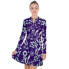 Floral Blue Pattern  Long Sleeve Panel Dress