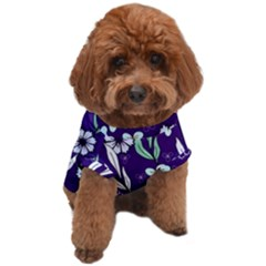 Floral Blue Pattern  Dog T-shirt by MintanArt