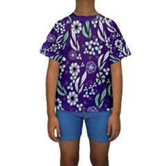 Floral Blue Pattern  Kids  Short Sleeve Swimwear