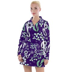 Floral Blue Pattern  Women s Long Sleeve Casual Dress