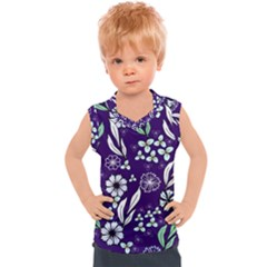 Floral Blue Pattern  Kids  Sport Tank Top