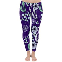 Floral Blue Pattern  Classic Winter Leggings