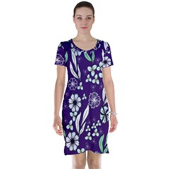 Floral Blue Pattern  Short Sleeve Nightdress