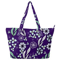 Floral Blue Pattern  Full Print Shoulder Bag
