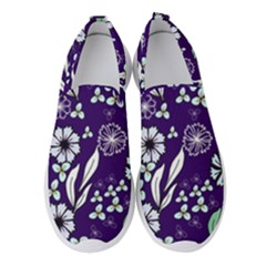 Floral Blue Pattern  Women s Slip On Sneakers