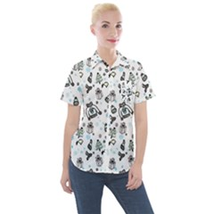 Winter Story Patern Women s Short Sleeve Pocket Shirt