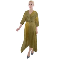 Golden Quarter Sleeve Wrap Front Maxi Dress by impacteesstreetweargold