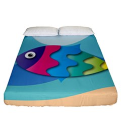 Illustrations Fish Sea Summer Colorful Rainbow Fitted Sheet (california King Size)