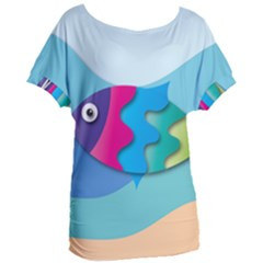 Illustrations Fish Sea Summer Colorful Rainbow Women s Oversized Tee