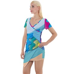 Illustrations Fish Sea Summer Colorful Rainbow Short Sleeve Asymmetric Mini Dress